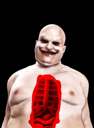 clownophobia: Fat horrible clown with a split pen stomach.