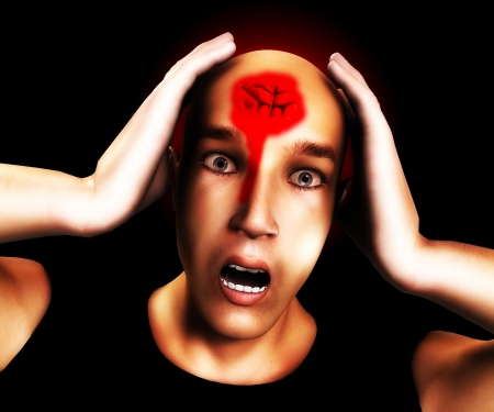 terribly: Man with a very terribly bad head wound on his forehead.