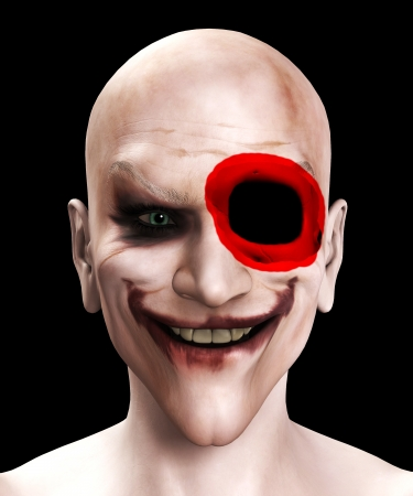 clownophobia: Facially wounded psychopathic killer clown with skull poking through.