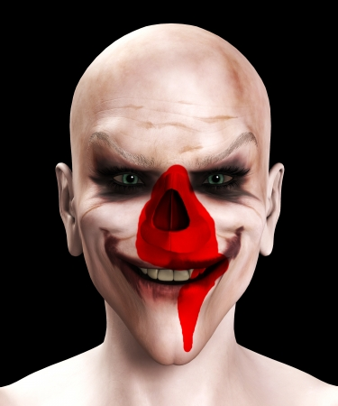 Facially wounded psychopathic killer clown with skull poking through.
