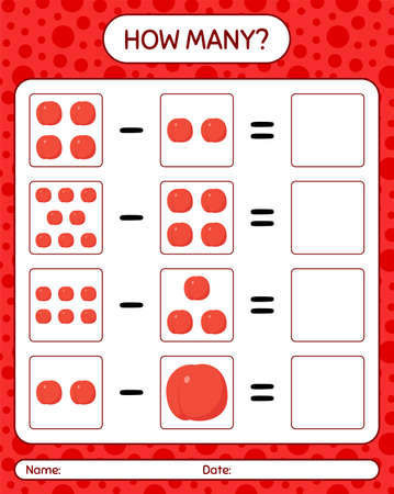 How many counting game nectarine. worksheet for preschool kids, kids activity sheet, printable worksheet