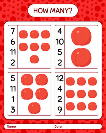 How many counting game with nectarine. worksheet for preschool kids, kids activity sheet, printable worksheet 矢量图像