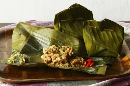 distinctive flavor: botok tempeh made  from tempeh mixed with a distinctive flavor