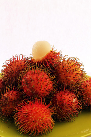 Fresh rambutan fruit straight from the garden photo