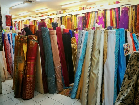 apparel: Dress material fabric store Stock Photo