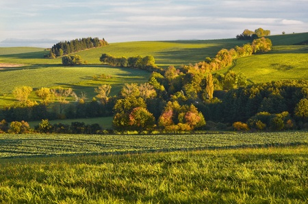 bohemia: Autumn landscape in western Bohemia before sunset