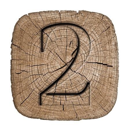 Wooden vintage numeric collection, number 2 Zdjęcie Seryjne