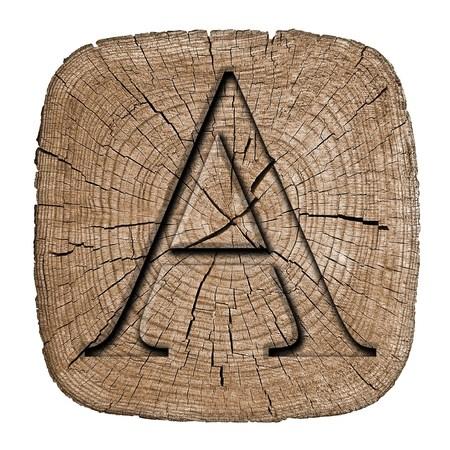 letras negras: Bloque del alfabeto de madera, letra A Foto de archivo