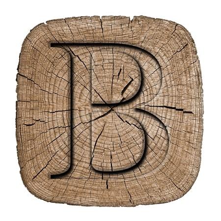 alphabet blocks: Wooden alphabet block, letter B