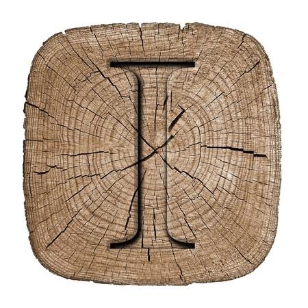 Wooden alphabet block, letter I photo