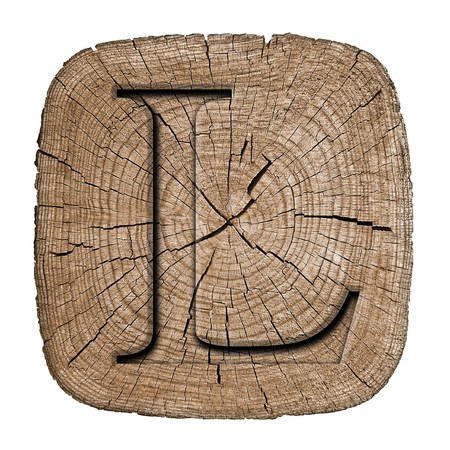 Wooden alphabet block, letter L
