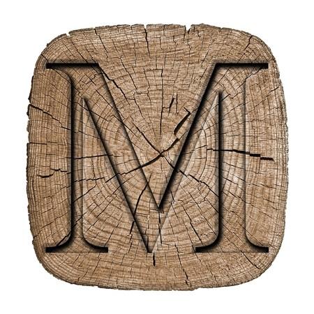 letras doradas: Bloque del alfabeto de madera, letra M