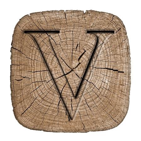 letter v: Wooden alphabet block, letter V