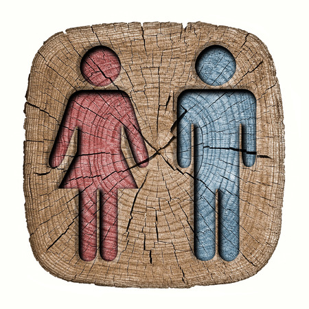 toilets WC sign for men and women  wooden background  photo