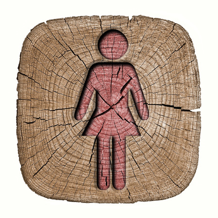 toilets WC sign for women  wooden background  photo