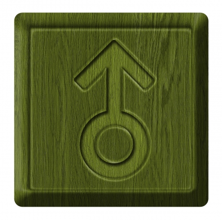Male sign sex, wooden label photo