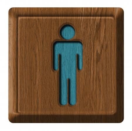 Men toilet wooden sign