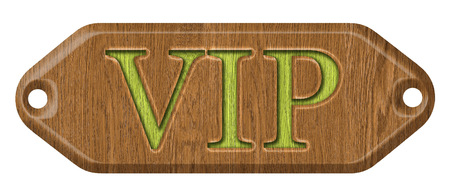 VIP,wooden label, isolated on the white background  photo