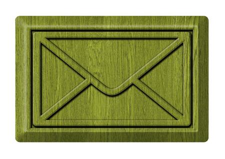 Wooden mail icon on white photo