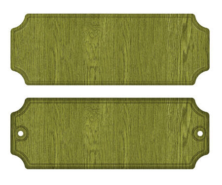mount price: Green wooden label, isolated on the white background.