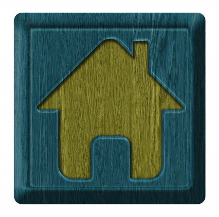 Home icon, wooden label isolated on white background photo