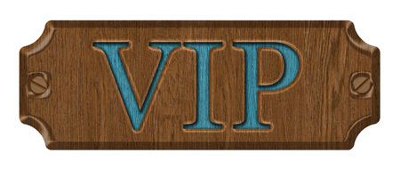 VIP,wooden label, isolated on the white background. photo