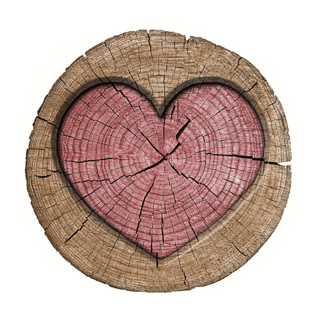 heart symbol on the wooden panel photo