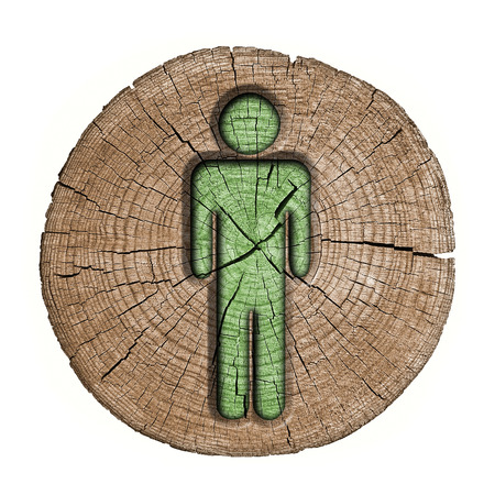toilets WC sign for men(wooden background) photo