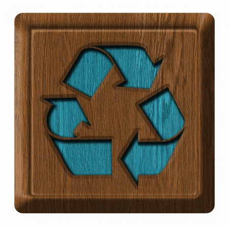recycling simbol on the wooden panel photo