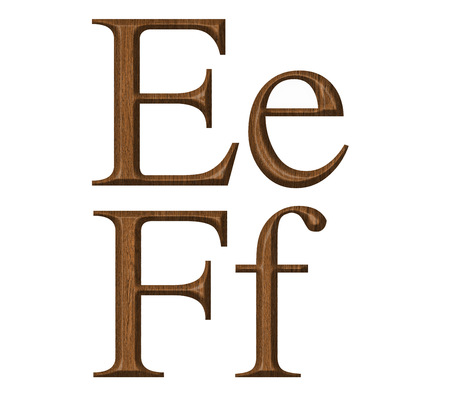 Wooden alphabet, letter E,F photo