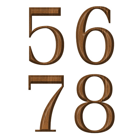 6 7: Wooden numeric collection, number 5,6,7,8 Stock Photo