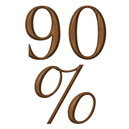 Wooden numeric collection, number 9,0, percent photo