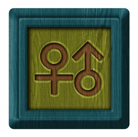 Male and female signs, wooden label photo