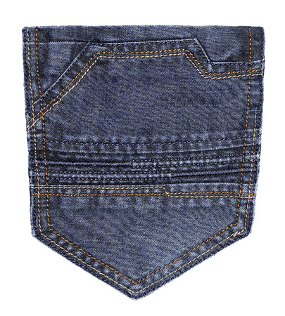 Blue jeans pocket isolated on white   photo