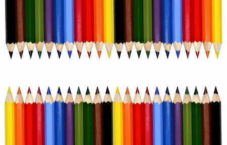 Colour pencils isolated on white background photo