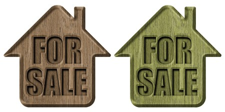 home buyer: Wooden signs house for sale