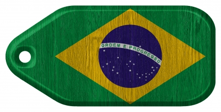 brazil flag painted on wooden tag photo