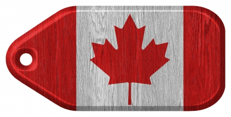 Canada Flag painted on wood tag photo