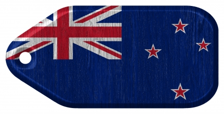 New Zealand flag painted on wood tag Stock Photo