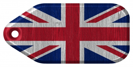 United Kingdom Flag painted on wood tag photo