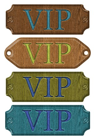 business card holder: Set wooden VIP label isolated on the white background.