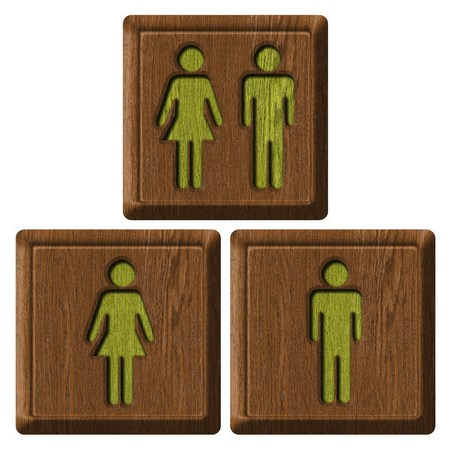 toilets WC sign for men and women photo