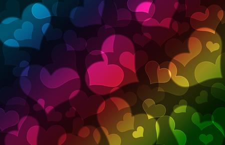 Shiny hearts bokeh light Valentines day background photo