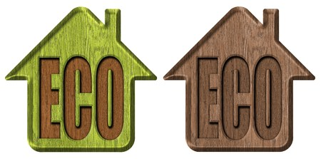 Wooden symbol of ecological house photo