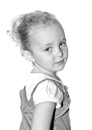 Portrait little girl isolated on white background photo