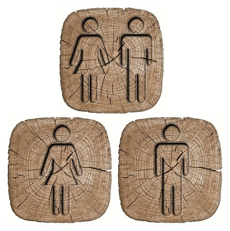 toilets WC sign for men and women (wooden background) photo