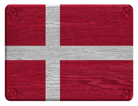 Denmark Flag painted on wood tag photo