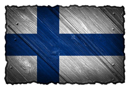 finland flag: Finland Flag painted on wood tag