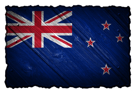 New Zealand flag painted on wood tag photo