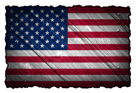 USA, American flag painted on wooden tag photo